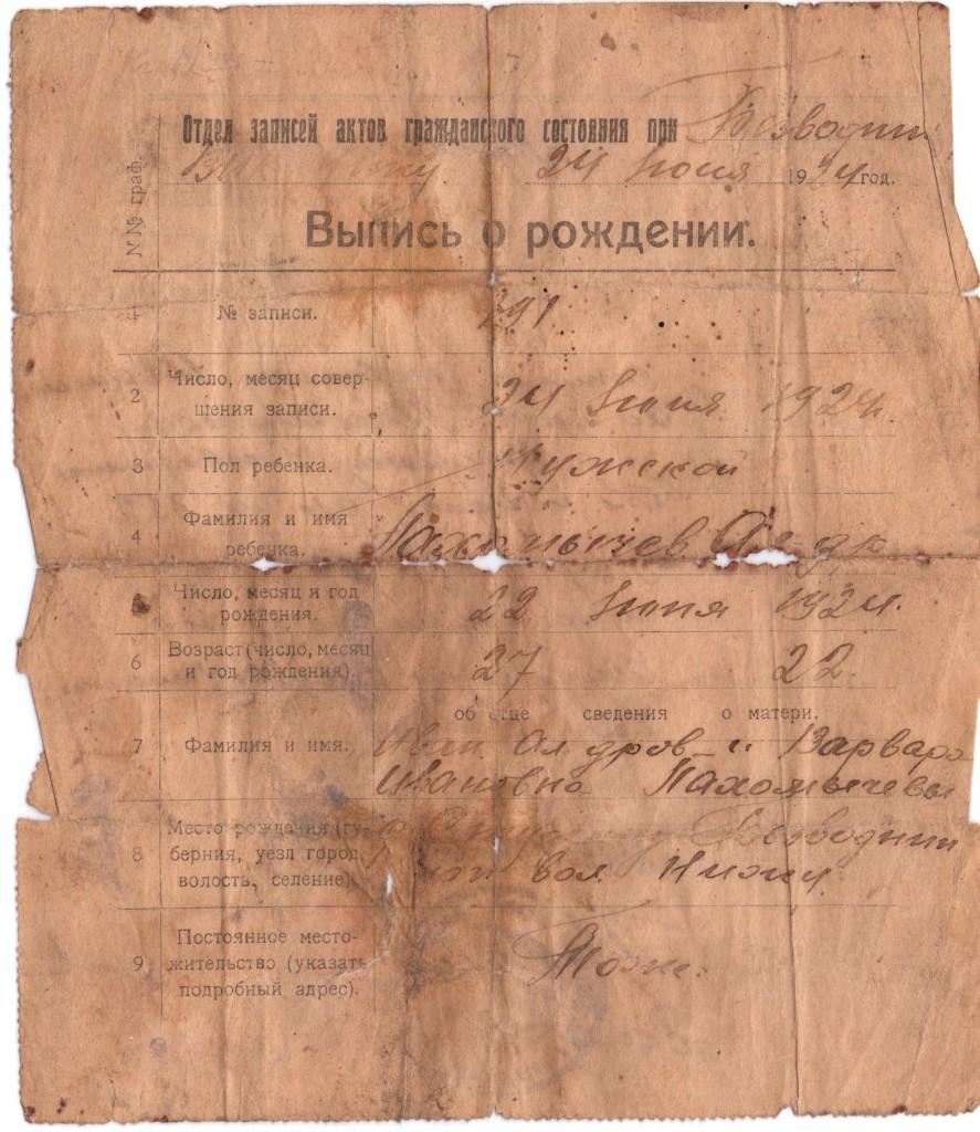 Александр Иванович Пахомычев свидетельство о рождении