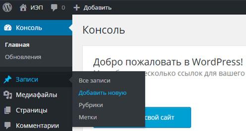 Создание записей через консоль WordPress