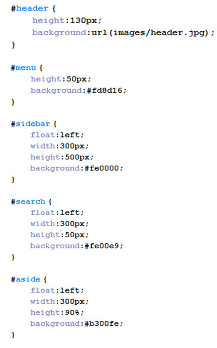 верстка сайта в файле stylecss