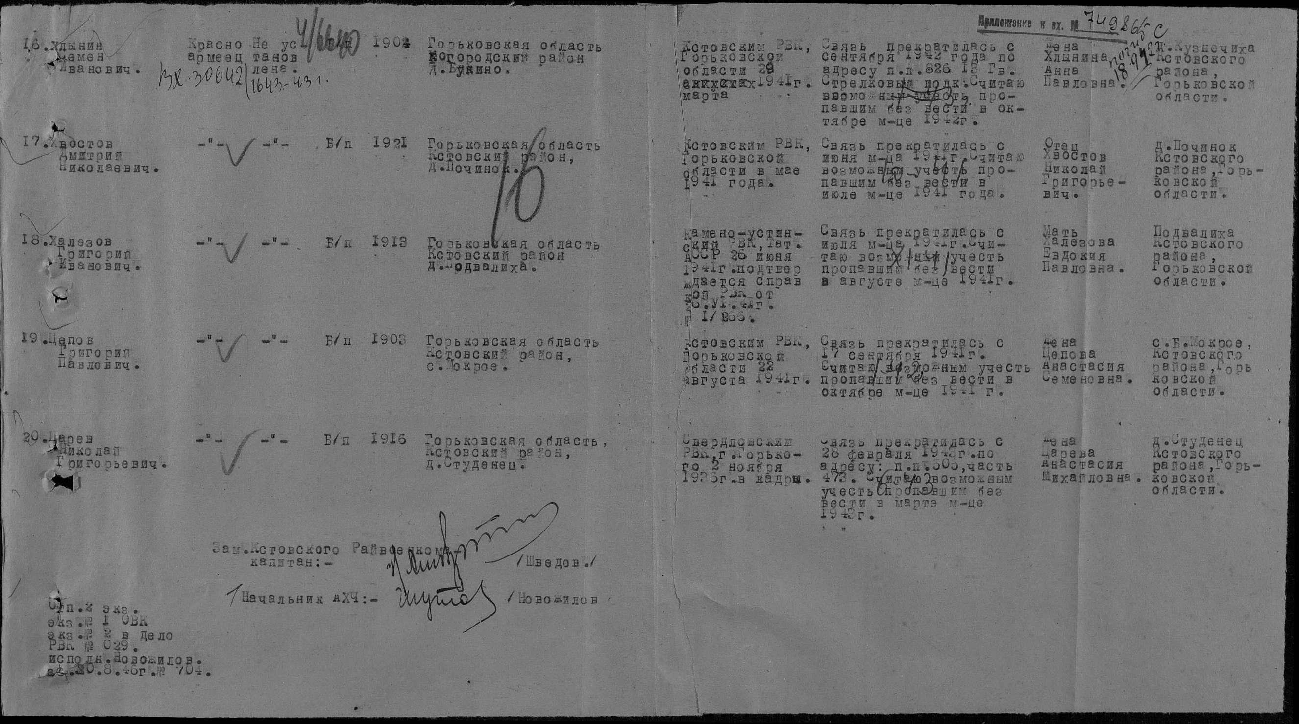 Халезов Григорий Иванович. Сведения из архива ВОВ